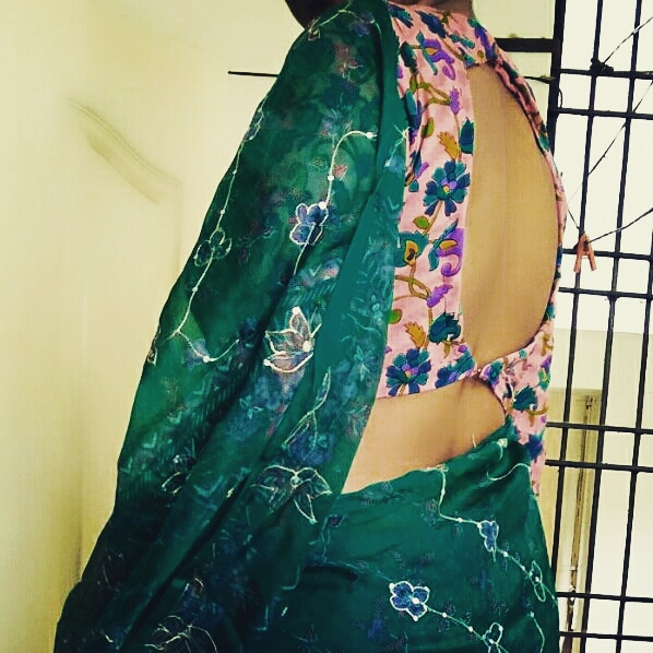 saree blouse design - blouse back side neck