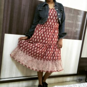 tiered dress with demin