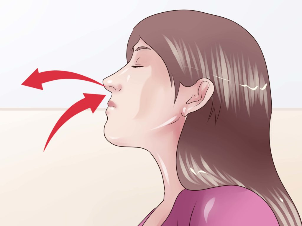 seated chair exercises - nose to nose breathing
