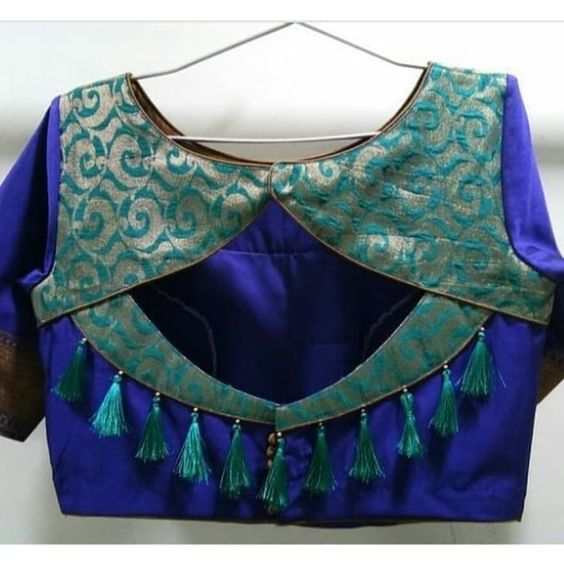 blouse beck neck designs with tassels