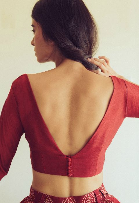 deep v neck blouse back