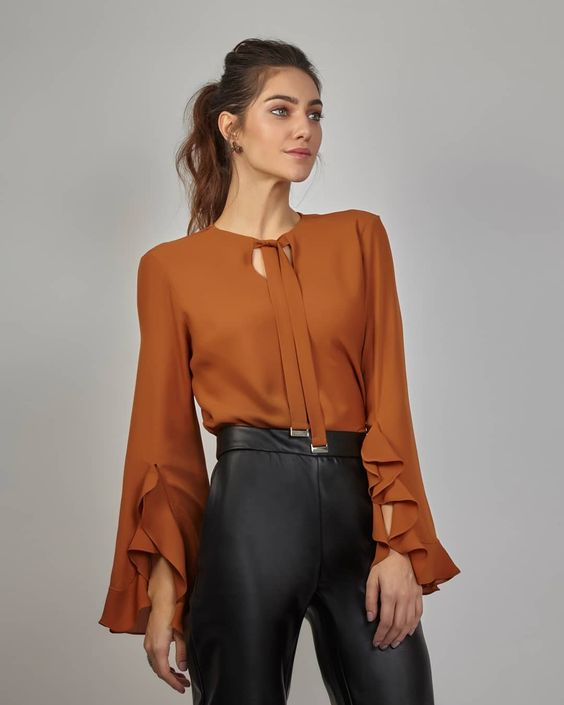 Ruffled Long Bell Sleeves