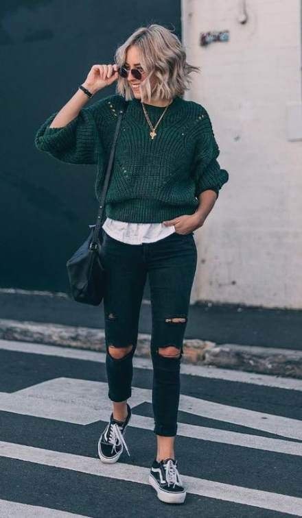 Sweater With Torn Jeans grunge minimal fashion