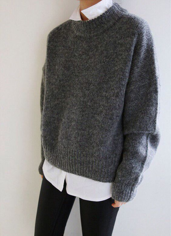 Grey Oversized Sweater Layering On White Shirt