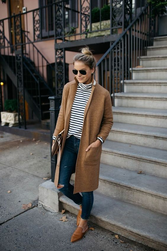 turtle neck top with fall coat layering