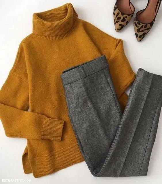 Turtle Neck Oversized Sweater With Trousers: