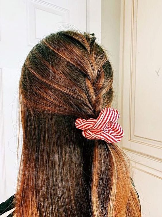 Scrunchie Chic Half French Braid