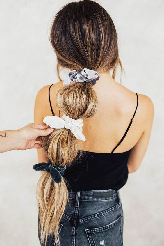 velvet bow scrunchie hairstyle