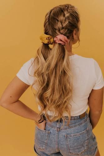 chiffon scrunchie braided hairdo