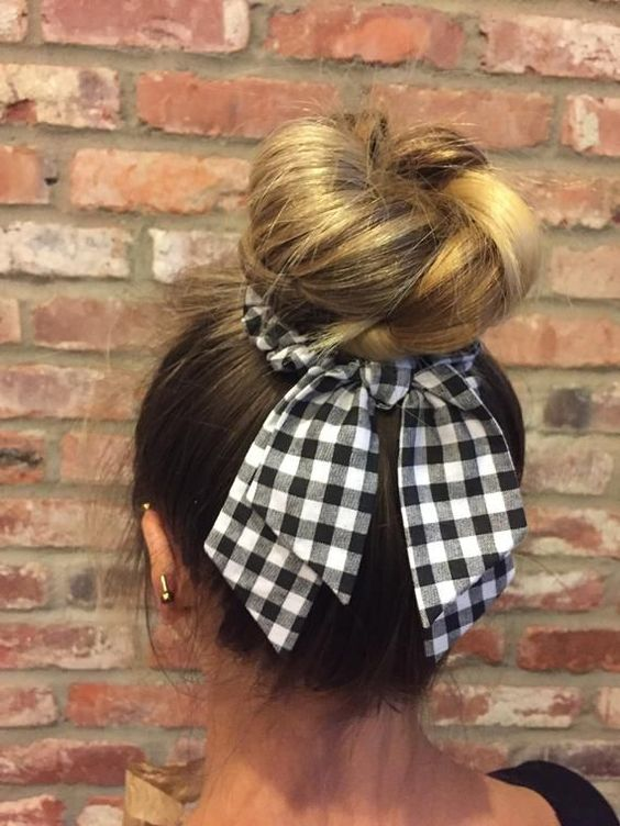 updo bow scrunchie hairstyle
