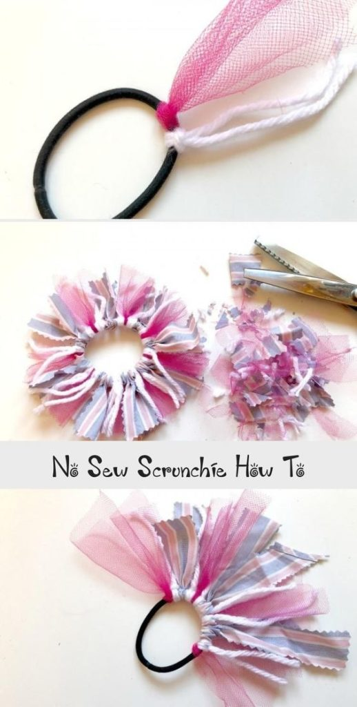 no sew hair tie scrunchie