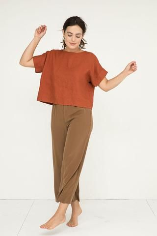 boxy top and khaki straight pants