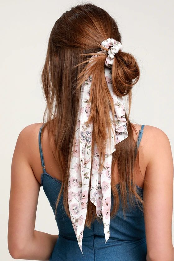 scarf scrunchie messy half ponytail