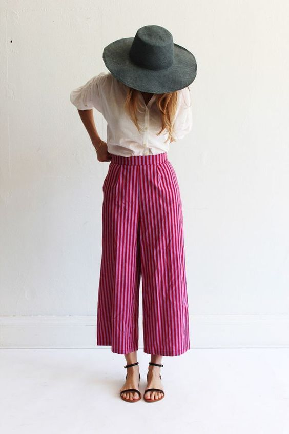 vibrant striped palazzo outfit