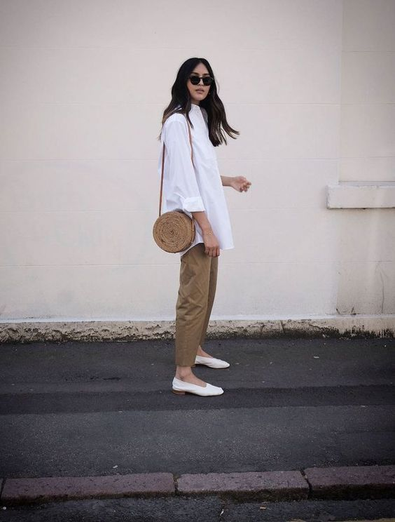 minimalist white shirt and khaki chinos style