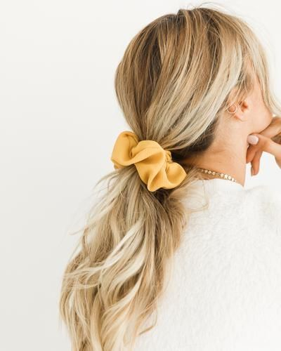polyester scrunchie low ponytail