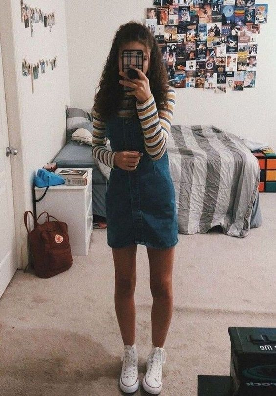 Denim Sheath Dress cute outfit for school