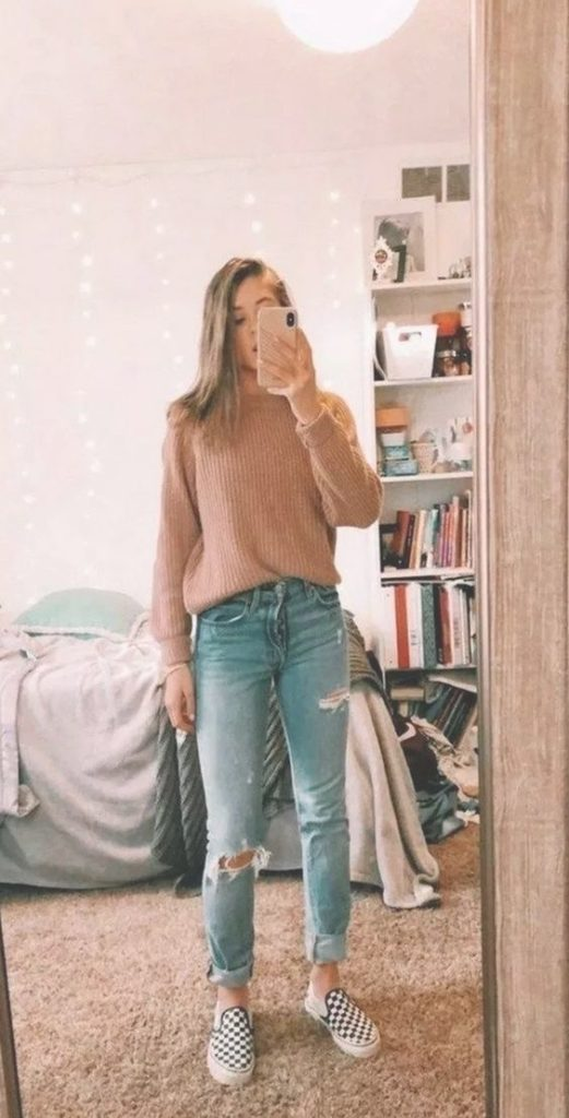 Casual Loose Fit Sweater outfit
