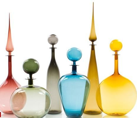 festive decoation colored glass bottles
