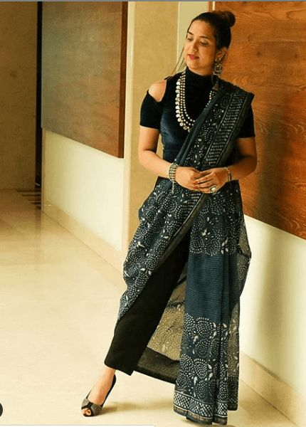 saree with pants fusion outfit