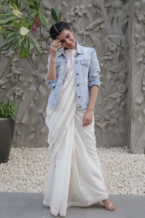 saree with blazer fusion outfit