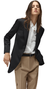 beige trouser with shirt and coat