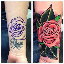 Name With Rose Cover Up Tattoo