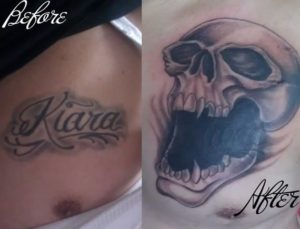 Name With Skull Cover Up Tattoo