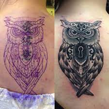 Owl Back Cover Up Tattoo