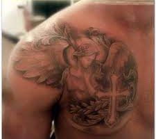 Angel And Cross Tattoo ideas for men