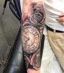 Clock Tattoos With Roses