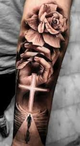Cross With Rose Tattoo ideas for men