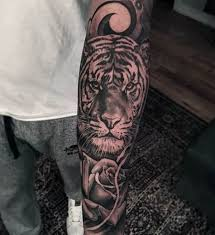 Tiger With Rose Tattoo