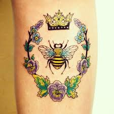 Bee With Crown Tattoo