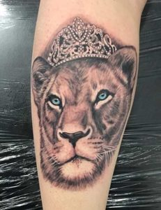 Female Lion Tattoo With Crown