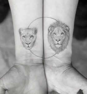 Lion And Lioness Tattoos For Couples