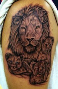 Lioness And 3 Cubs Tattoo
