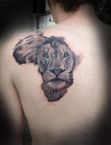 Map And Lion Tattoo