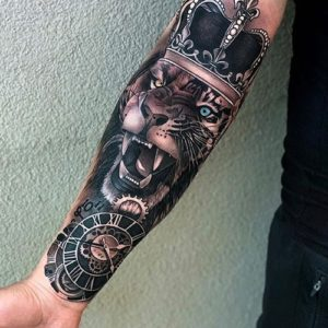 Sleeve Lion With Crown Tattoo