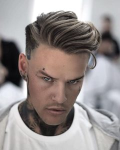 quiffed side swept hair style for thin hair men