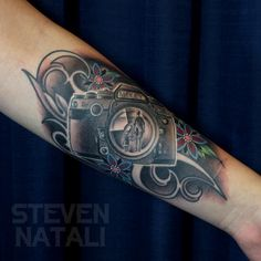 Camera Lens With Reflection Tattoo