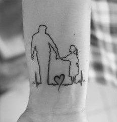 Father Daughter Outline Tattoo
