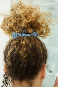 Updo WIth Curly Hair And Scrunchie