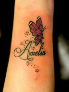 butterfly tattoo with name
